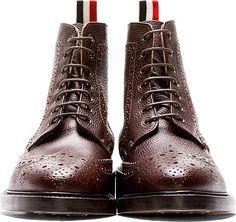Thom Browne: Brown Pebbled Leather Wingtip Boots