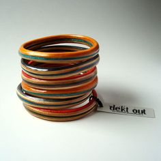 RESERVED 4 Michelle- custom skateboard bangles- get dekt out Custom Skateboards, Bangles Making, Orange And Turquoise, Upcycled Vintage, Jewelry Art, Unique Jewelry, Bangle Bracelets, Best Gifts, My Style