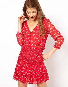 paul & joe zebra print flounce dress