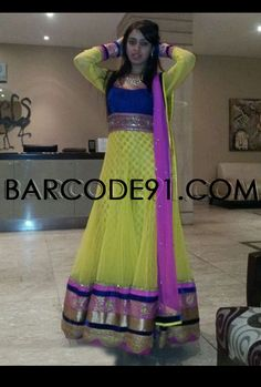 Customer liked this florescent green net anarkali suit by Barcode91.com