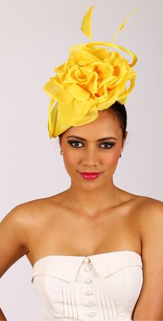 H1341Y Melbourne Cup Fashion, Yellow Fascinator, Races Fashion, Wedding Hats, Yellow Wedding, Yellow Fashion, Ascot, Sculpting, Strapless Dress