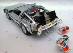 Delorean Partners in Time Wedding Cake Topper