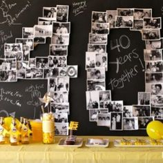 DIY giant number black and white photo collage. Celebrate with a giant photo collage in the shape of a number or a monogram. 40th Party Ideas, 40th Bday Ideas, 40th Birthday Parties, Man Birthday, Birthday Week, Forty Birthday, Golden Birthday, Birthday Numbers, Birthday Celebrations