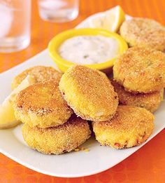 These mini crab cakes served with a mayonnaise and caper sauce are an appetizer that's guaranteed to disappear quickly.