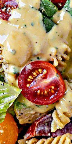 Caesar Pasta Salad Best Salad Recipes, Good Healthy Recipes, Skinny Recipes, Pasta Recipes, Healthy Eats, Delicious Recipes, Salad Bar, Soup And Salad, Summer Corn Salad