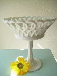 Milk Glass Footed Vintage Tall Bowl or Compote Retro Shabby Chic Wedding Candy Dish Loop Pattern. $38.00, via Etsy.