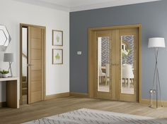 Palermo Internal Oak Rebated Door Pair with Clear Glass Lifestyle Roomshot Oak Interior Doors, Arched Doors, Interior Barn Doors, Doors Interior, Doors And Floors, Internal Glass Doors, Wood Doors Interior, Room Divider Doors, Internal Doors Modern