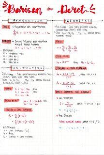 Catatan Barisan dan Deret Aritmatika - Geometri // Notes Barisan dan deret // Matematika Study Motivation Quotes, Study Quotes, School Motivation, College Notes, School Notes, School Organization Notes, Math Notes, Math Formulas, Study Pictures