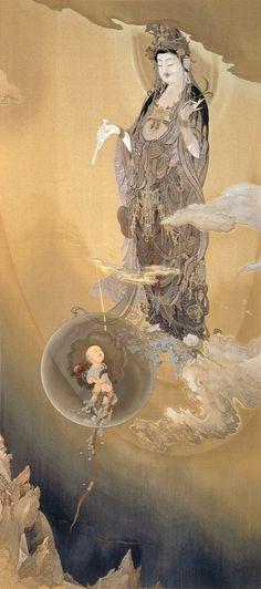 GUANYIN: the patroness saving people from calamities Buddhist Symbols, Little Buddha, Japan Painting, Japanese Artwork, Tibetan Art, Buddha Art, Religion, China Art, Guanyin