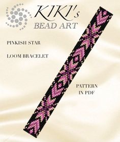 This is an own designed pattern in PDF format, downloadable directly from Etsy.  This pattern is for the Pinkish star LOOM bracelet which is created for Japanese delica beads.  The pdf file includes: 1. a large picture of the pattern 2. a large, detailed graph of the pattern, 3. a bead