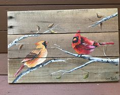 Cardinal Pallet Painting, Distressed Wood Art