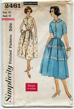 Simplicity 2461 Womens One Piece Dress 1950s Vintage Sewing Pattern Simple-to-Make, flattering dress has pointed, set-away collar; opening at neck edge above center front closing. Both views have full skirt, softly pleated from side front to side back. Self fabric or purchased belt