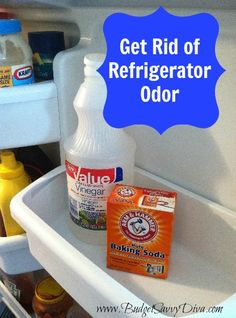 Get Rid of Refrigerator Odor. Wash fridg dwn w soapy water. Then spray with a vinegar/ water mix wipe and put open boxes off baking soda through out, to keep smell from returning. Smelly Refrigerator, Clean Fridge, Household Cleaning Tips, Diy Cleaning Products, Cleaning Solutions, Cleaning Hacks, Odor Remover, Making Life Easier, Cleaning