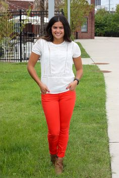 Fall outfit with colored pants. Brown Target booties + red Old Navy pants + white Forever 21 blouse