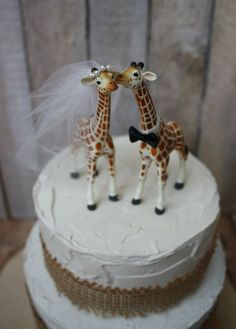 Giraffe wedding cake topper-animal-wedding cake topper-giraffe-wedding-just married-bride and groom-cake topper-custom-jungle-zoo-safari on Etsy, $43.00