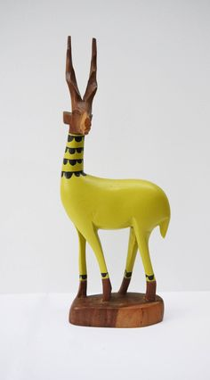 Vintage Retro Original Hand Carved African Hipster Gazelle - Lime Green Collared