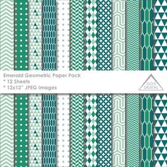 Emerald and Mint Green Paper Pack, Geometric, Triangle, Digital Scrapbook Papers, printable paper, Small Commercial Use, 12 inch papers, jpg  ~ 12