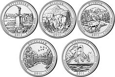 Coin Set: 2011 P D Bu National Parks Quarters - 10 Coin Set Uncirculated