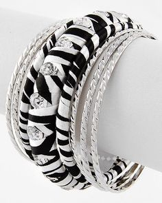 8 piece cloth zebra print bangle set