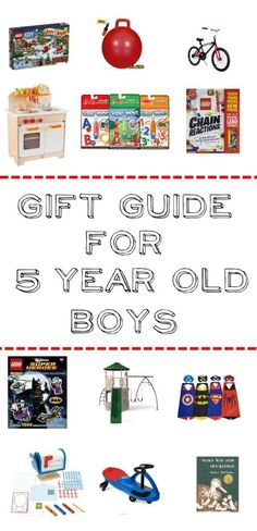 Gift Guide for 5 Year Old Boys- Over 50 ideas for pretend play, active play, building, books, and more for 5 year old boys.
