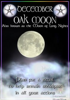 Blessed Be ) O ( DECEMBER - OAK MOON. Also known as the Moon of Long Nights. Plan for a ritual to help remain steadfast in all your actions Moon Magic, Sabbats, Practical Magic, Kitchen Witch, Divine Feminine, Moon Phases, Book Of Shadows, Stars And Moon, Full Moon