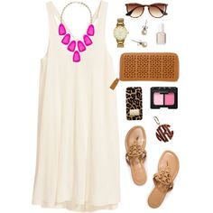 A fashion look from July 2014 featuring short white dress, tory burch shoes and chain wallet. Browse and shop related looks.