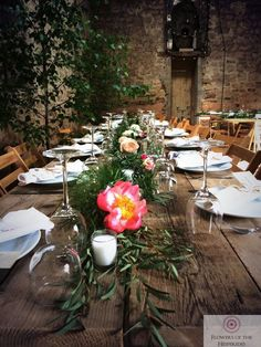Rustic Somerset Barn Wedding Table Centre Decoration - Peonies, Roses, Garland, Eucalytpus - Flowers by Flowers of the Hesperides Wedding Table Centres, Table Centers, Summer Wedding, Peonies, Garland, Wedding Flowers, Table Settings, Rustic, Table Decorations