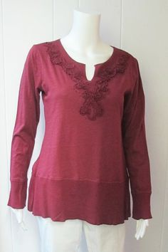 Waffle Trim Top | Be comfortable and look stylish in this waffle trim top.  Scoop v-neck.  Long sleeve.  Split back.  100% Cotton.  Available in wine.  Sizes S-XL. | Willy & Babbish Boutique | New Baltimore, MI
