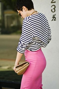 Love this pink skirt! Reminds us of Stacia's Hollywood Pink. www.styleshoppe.com