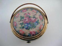 Vintage Kigu Petit Point Bouquet Basket Powder Compact | eBay