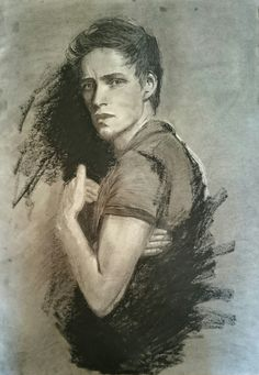 Drawing portrait idea of Eddie Redmayne pencil oil pastel charcoal on paper sketch drawing art