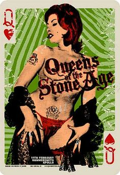 Queens of the Stone Age Concert Poster - Gig Poster - Graphic Design / Screen Print / Pin Up Motif - Queen of Hearts / Music / Art )