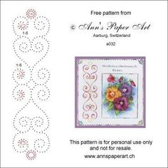 von Ann Lütolf, Paper Art Anns Embroidery Cards, Cross Stitch Embroidery, Embroidery Patterns, Card Patterns, Stitch Patterns, Stitching On Paper, Paper Art, Paper Crafts, Sewing Cards