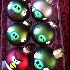 @Shannon Garren, here are the angry bird bulbs I hand painted on red and green bulbs from Hobby Lobby!