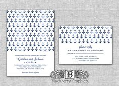 nautical anchor, Wedding Invitation set, diy printable, Catalina design