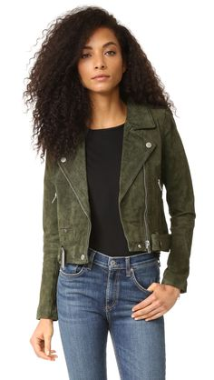 Brushed green suede jacket in perfect to transition into fall fashion. Blank Denim Genuine Suede Moto Jacket : Brushed green suede jacket in perfect to transition into fall fashion. Green Suede Jacket, Suede Moto Jacket, Color Verde Militar, Coats For Women, Jackets For Women, Blank Denim, Autumn Fashion, Women's Fashion, Olive Juice