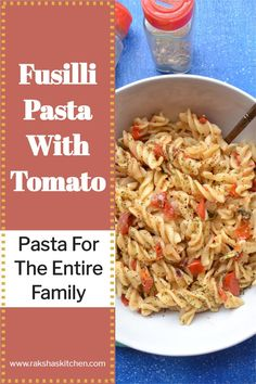 Easy fusilli pasta with tomato is a quick recipe. This pasta is without cheese has simple easily available at home ingredients. This is a kid's favorite recipe. You can pack it in the kid's lunch box to school. Easy fusilli pasta recipes can be made with vegetables or meat or sausage or shrimp. This no fuss tomato garlic pasta without cheese This pasta can be made for picky eaters for lunch or dinner. You can serve this vegan pasta for party too like Halloween, Thankgiving or Christmas… Low Calorie Recipes, Quick Recipes, Pasta Recipes, Healthy Recipes, Fusilli Pasta Recipe, Garlic Pasta, Ramadan Food, Ramadan Recipes, Delicious Dinner Recipes