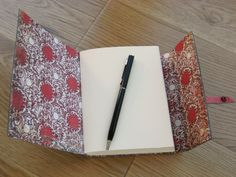 Forest Green Leather longstitch journal - lined with decorative paper. By LizzieMade