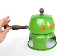 Vintage Fondue Pot Set Green Enamel Orange by stonesoupology