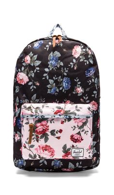 8a61ae39b701 Shop for Herschel Supply Co. Fine China Collection Heritage Backpack in  Black Floral   Pink Floral at REVOLVE.