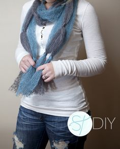 Easy Knotted Scarf Tutorial (no sew/crochet)