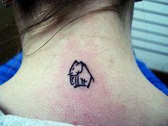 Mini Elephant Tattoo on Neck Backside