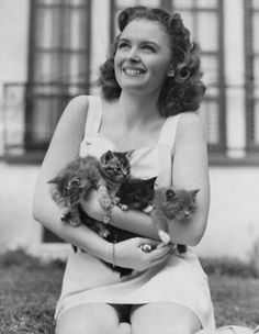 Donna Reed y sus gatos Crazy Cat Lady, Crazy Cats, I Love Cats, Cool Cats, The Donna Reed Show, Celebrities With Cats, Celebs, Animal Gato, Son Chat
