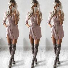 Chiffon Shirt Dress, Casual T Shirt Dress, Sexy Casual Outfits, Dress Shirt, Casual Night Out Outfit Summer, Sexy Winter Outfits, Casual Wear, Date Night Outfits, Classy Fall Outfits