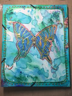 Mixed Media Folio by Gwen Lafleur using stencils from StencilGirl and Color Burst by …