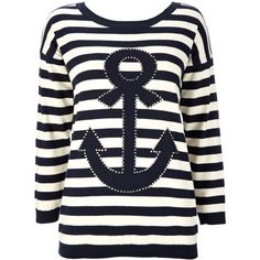 Stone Anchor And Stripe Print Sweater ($42) ❤ liked on Polyvore
