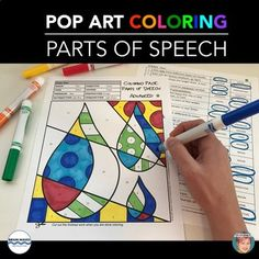 Parts of Speech Pop Art coloring pages make learning and reviewing grammar a lot of fun! Included are starter, basic, beginner, intermediate and advanced English Language Arts coloring pages to help students (grades 2 to 8) practice parts of speech and review their grammar.