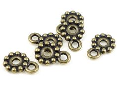 Large Hole Beads Antique Brass Beads Rivetable Beads for Leather Pendant Bail Necklace Bail TierraCast Bronze Beads (PS248)