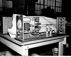Original electro-mechanical subway scheduler. Uses 35mm film strip and clock interfaces with the signal interlocking to dispatch trains. c1953. Toronto subway