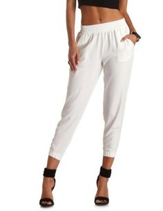 solid high-waisted jogger pants